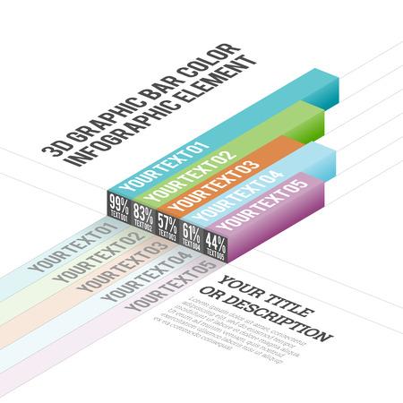 Illustration of 3D graphic bar color infographic elements. Illustration