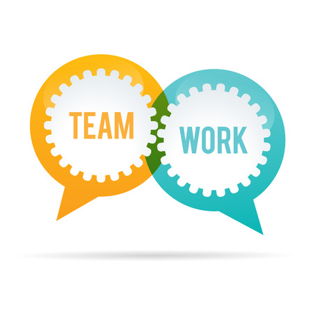 Vector illustration of team work gear bubble.