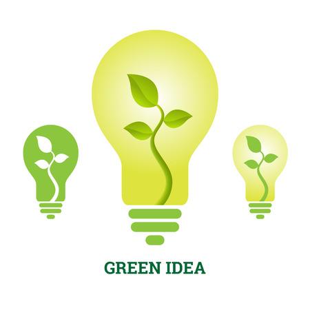 green light bulb: Vector illustration of green idea plant light bulb. Illustration