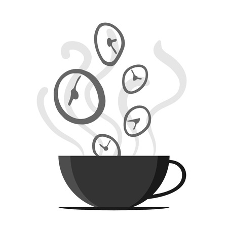 illustration of time fly by off a coffee cup.