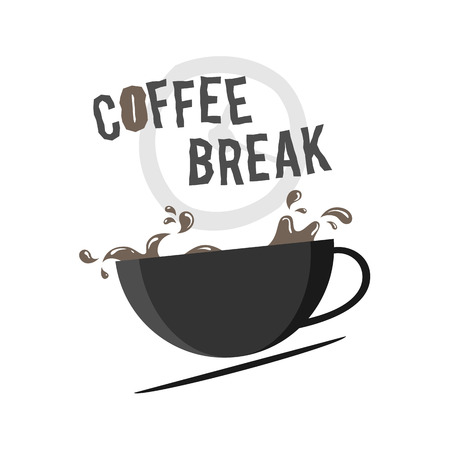 recess: Vector illustration of a cup of coffee with coffee splashes and coffee break text.
