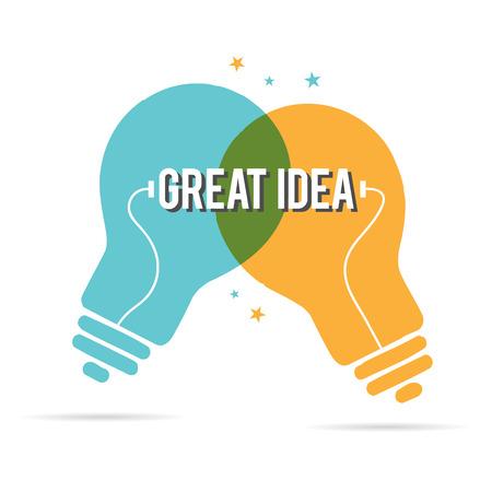 デュオ電球の素晴らしいアイデアのベクトル イラスト。