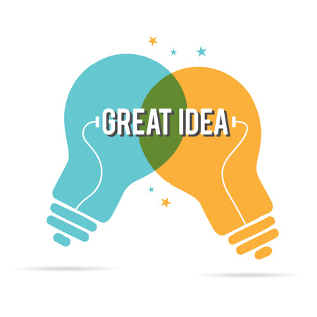 synergy: Vector illustration of great idea of duo lightbulbs.