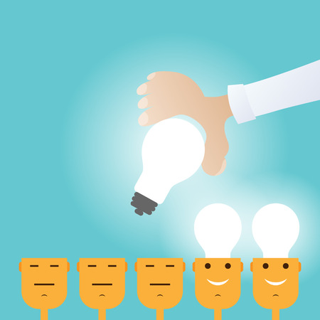 Vector conceptual illustration of a big hand implanting light bulbs to its subjects. Illustration