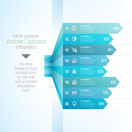 multi: Vector illustration of multi purpose arrow option chart infographic.