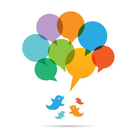 twit: Vector illustration of talk bubble chart birds.