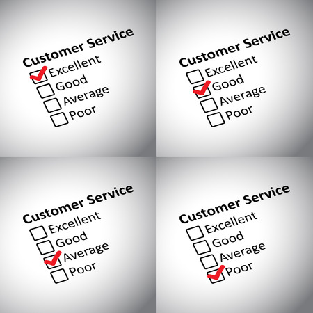qc: Vector illustration of customer evaluation forms.