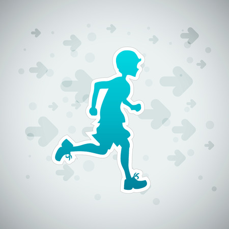 haltbarkeit: Vektor-Illustration eines Jungen Lauftraining.