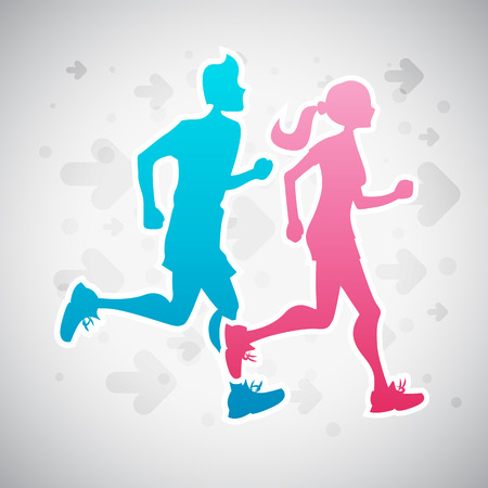 durable: Vector illustration of a couple running exercise.