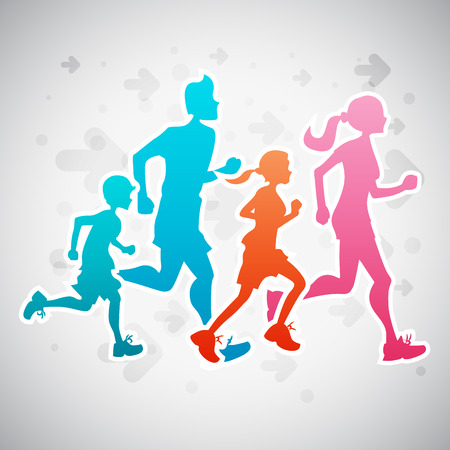 Vector illustration of a family running exercise. Çizim
