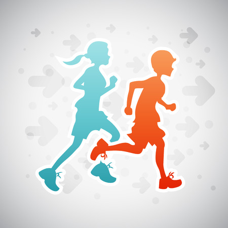 Vector illustration of boy and girl on running exercise. Illustration