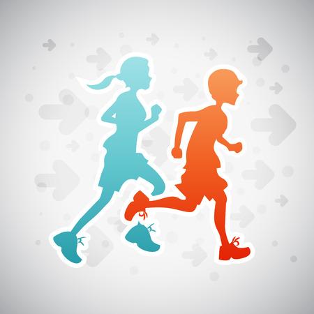 Vector illustration of boy and girl on running exercise. Stock Illustratie