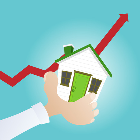 Vector illustration of a hand holding a house with increasing red graphic in the background.