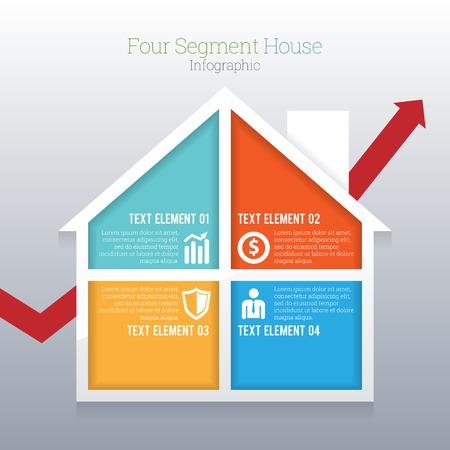 segment: illustration of four part segment house infographic.
