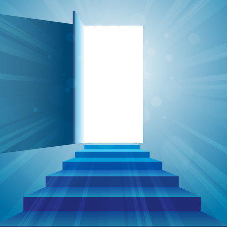 ascend: illustration of a stairway to an open door.