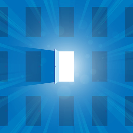 way out: illustration of one open door full of light. Illustration