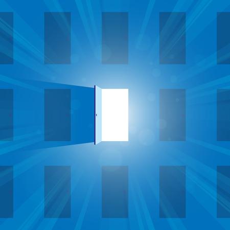 out door: illustration of one open door full of light. Illustration