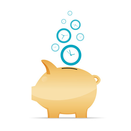time icon: illustration of time as money concept.