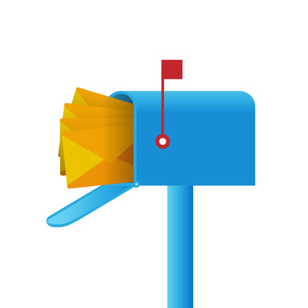 illustration of a mailbox full of mails. Vector