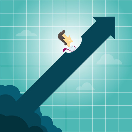 increasing: illustration of a businessman riding an arrow.