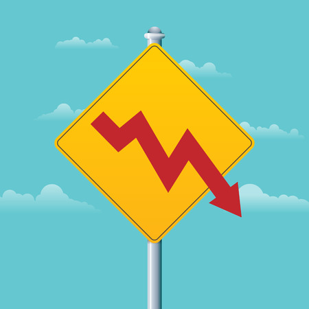 deficit: Vector illustration of a deficit warning sign with a red arrow graphic. Illustration