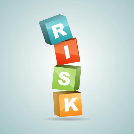 Vector illustration of color risk blocks falling. Illustration