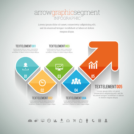 segment: illustration of arrow graphic segment infographic element.