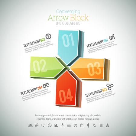 converging: illustration of converging arrow block infographic element.