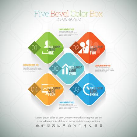 bevel: illustration of five bevel color box infographic element.