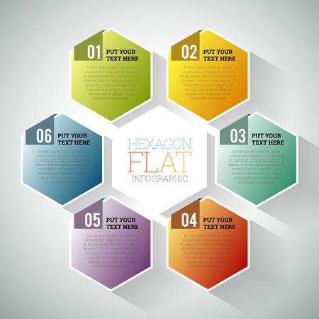 hex: illustration of hexagon hex flat infographic element.