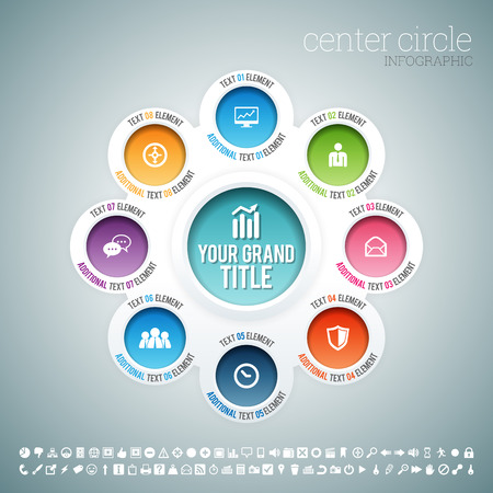 illustration of center circle infographic element. Vector