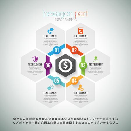 Ilustración vectorial de una parte hexagonal elemento de infografía.