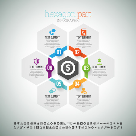 Vector illustration of hexagon part infographic element.