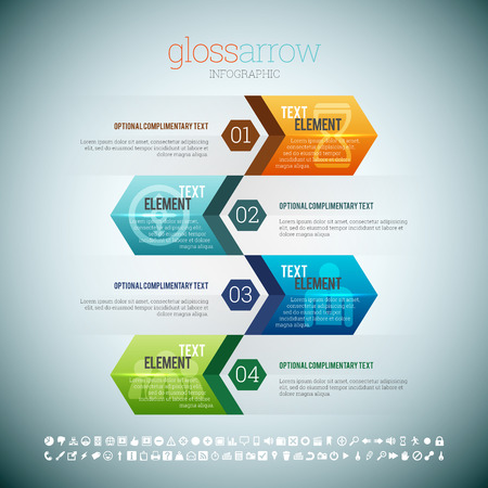 arrow sign: illustration of gloss arrow infographic elements. Illustration