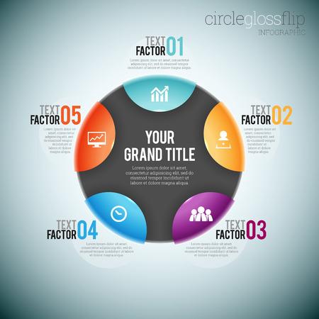 gloss: Vector illustration of circle gloss flip infographic elements. Illustration