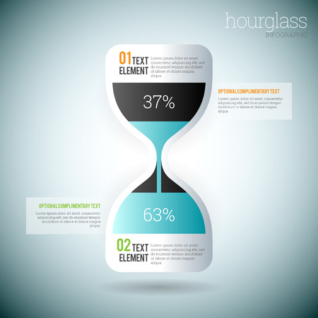 Vector illustration of glossy hourglass infographic elements  Illustration