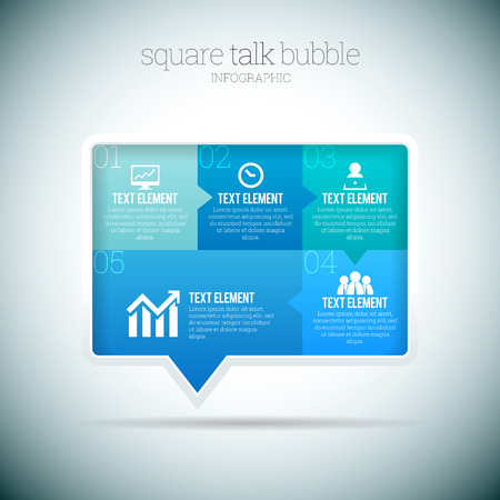 Vector illustration of square talk bubble infographic elements  Vector