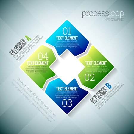 Vector illustration of process loop infographic elements.