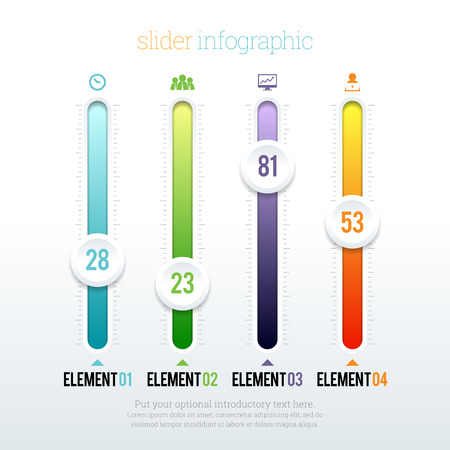 sliding colors: Vector illustration of colorful glossy slider infographic elements.