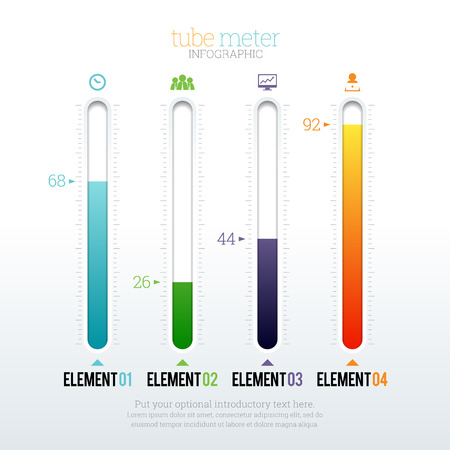 sliding colors: Vector illustration of tube meter infographic elements.