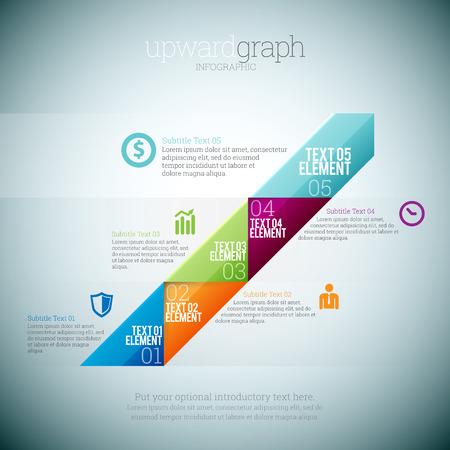 upward graph: Vector illustration of upward graph infographic elements.