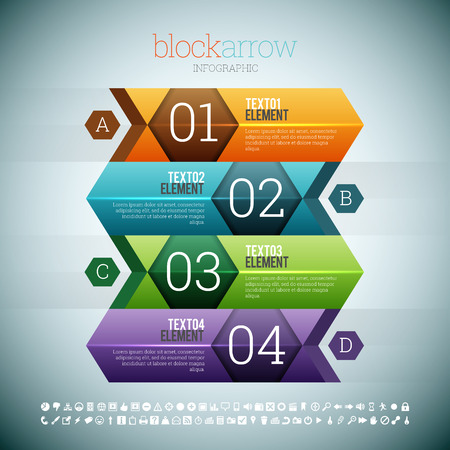 web elements: Vector illustration of block arrow infographic design elements.