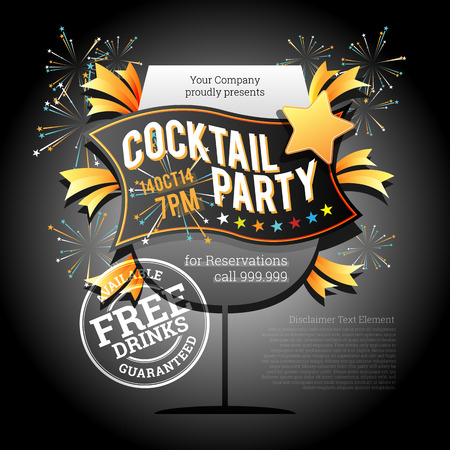 Vector illustration of cocktail party dinner event design elements. Vector
