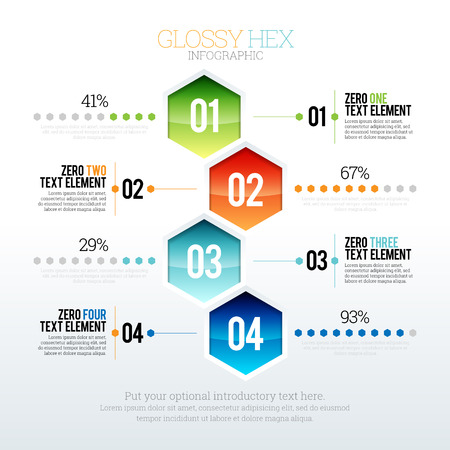 Vector illustration of glossy hex infographic.