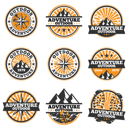 Vector illustration of adventure badge design elements.