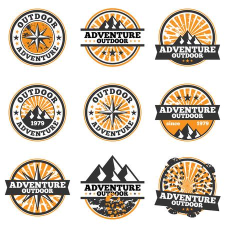 Vector illustration of adventure badge design elements.