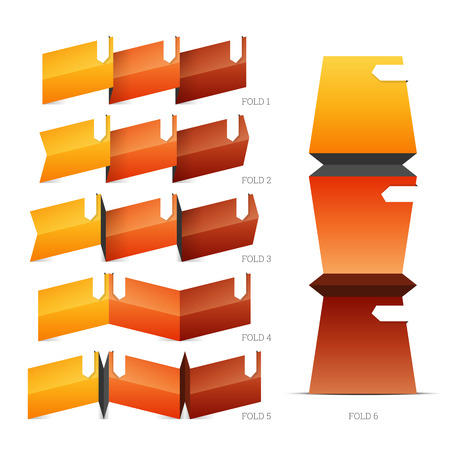 goffer: illustration of fold crease paper design elements.