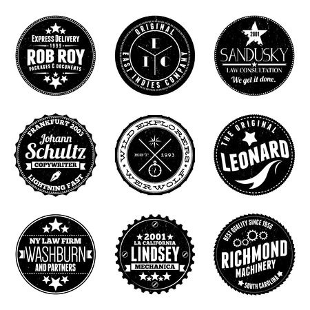 patches: illustrations of various custom circular stamp badges.