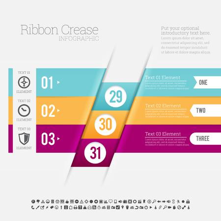 crease: Vector illustration of ribbon crease infographic design element.