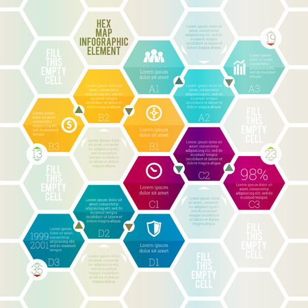 Vector illustration of hex map infographic design element.